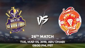 26th Match, Quetta Gladiators vs Islamabad United, Today Match Prediction