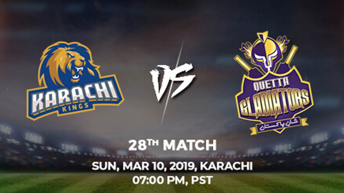 28th Match, Karachi Kings vs Quetta Gladiators, Today Match Prediction
