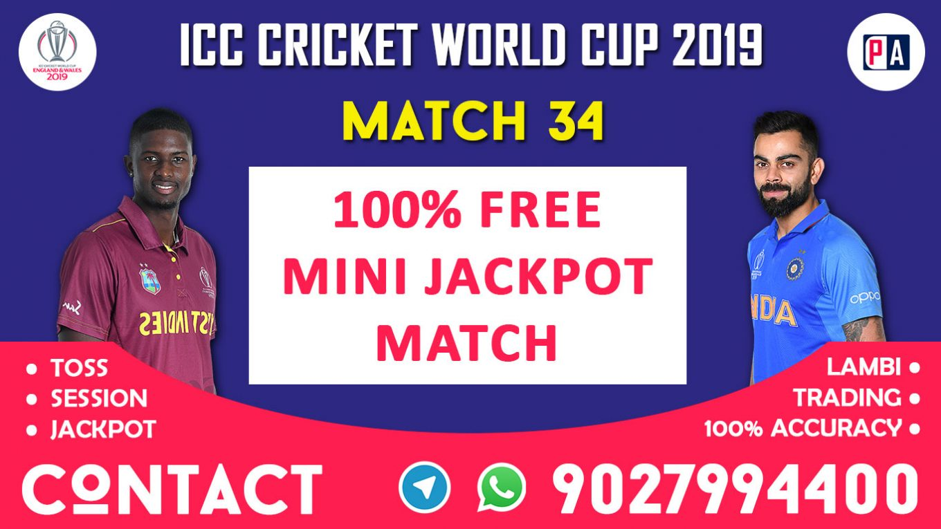 Match 34th, WI vs IND,, Today Match Prediction