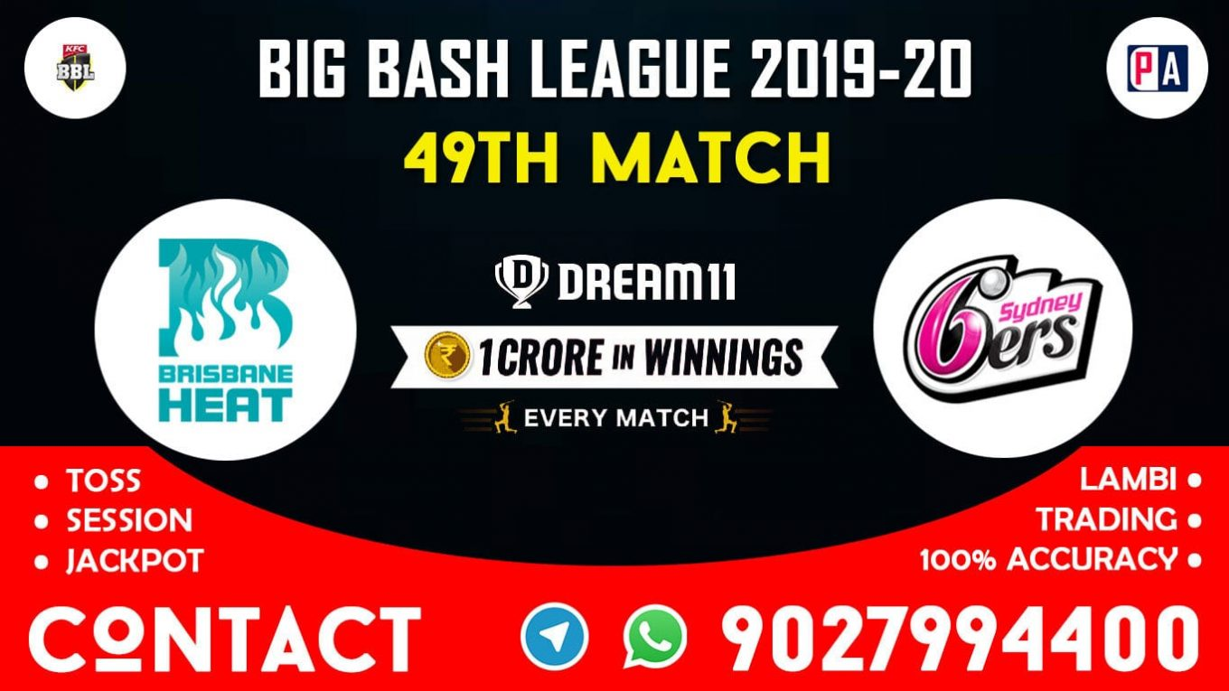 49th Match, HEA vs SIX, Dream11 Team Prediction