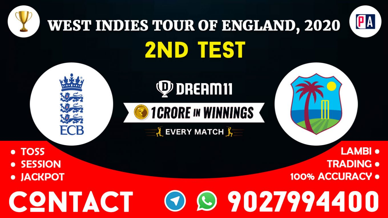 2nd Test, ENG vs WI, Today Match Prediction