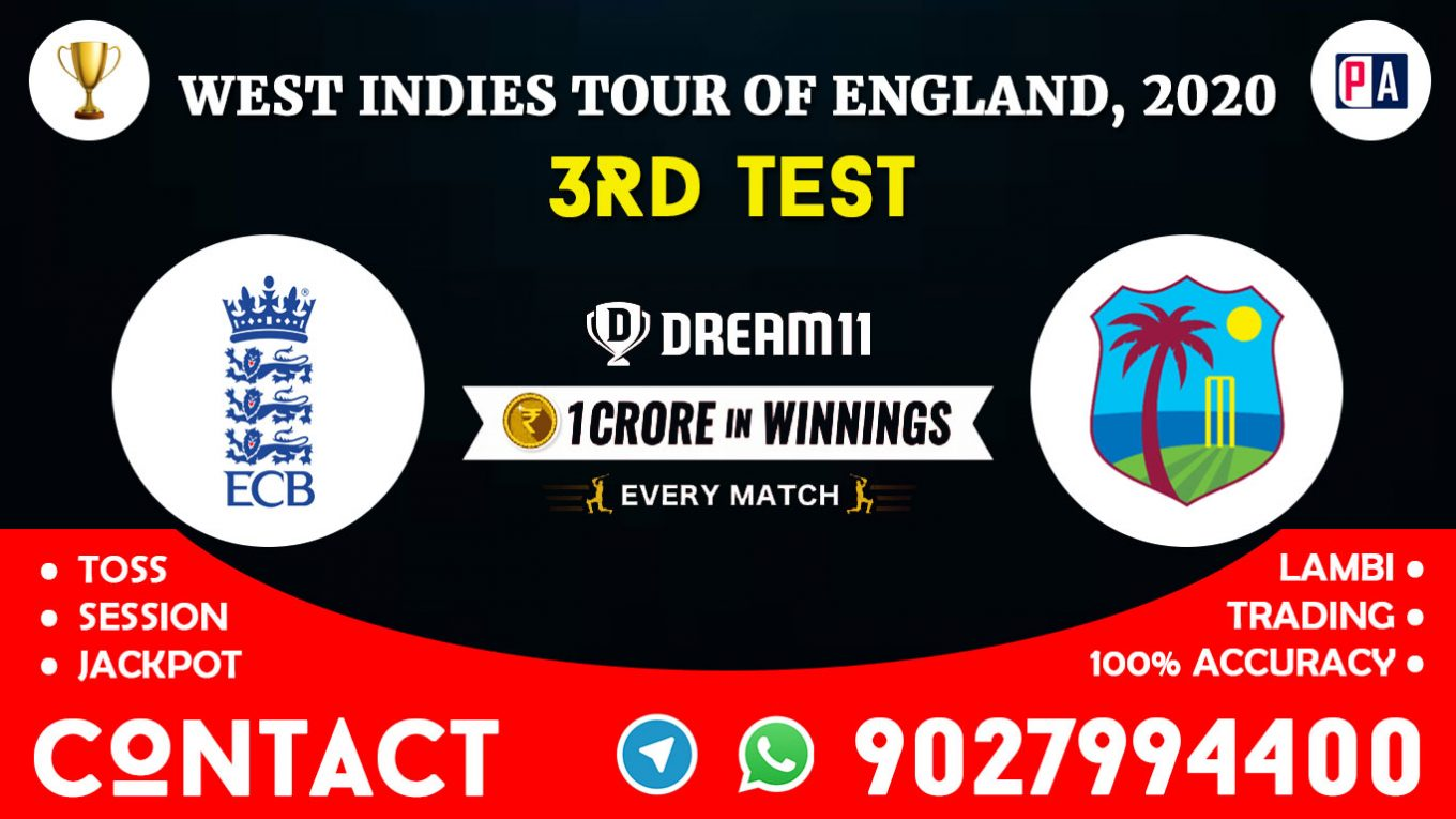 3rd Test, ENG vs WI, Dream11 Team Prediction