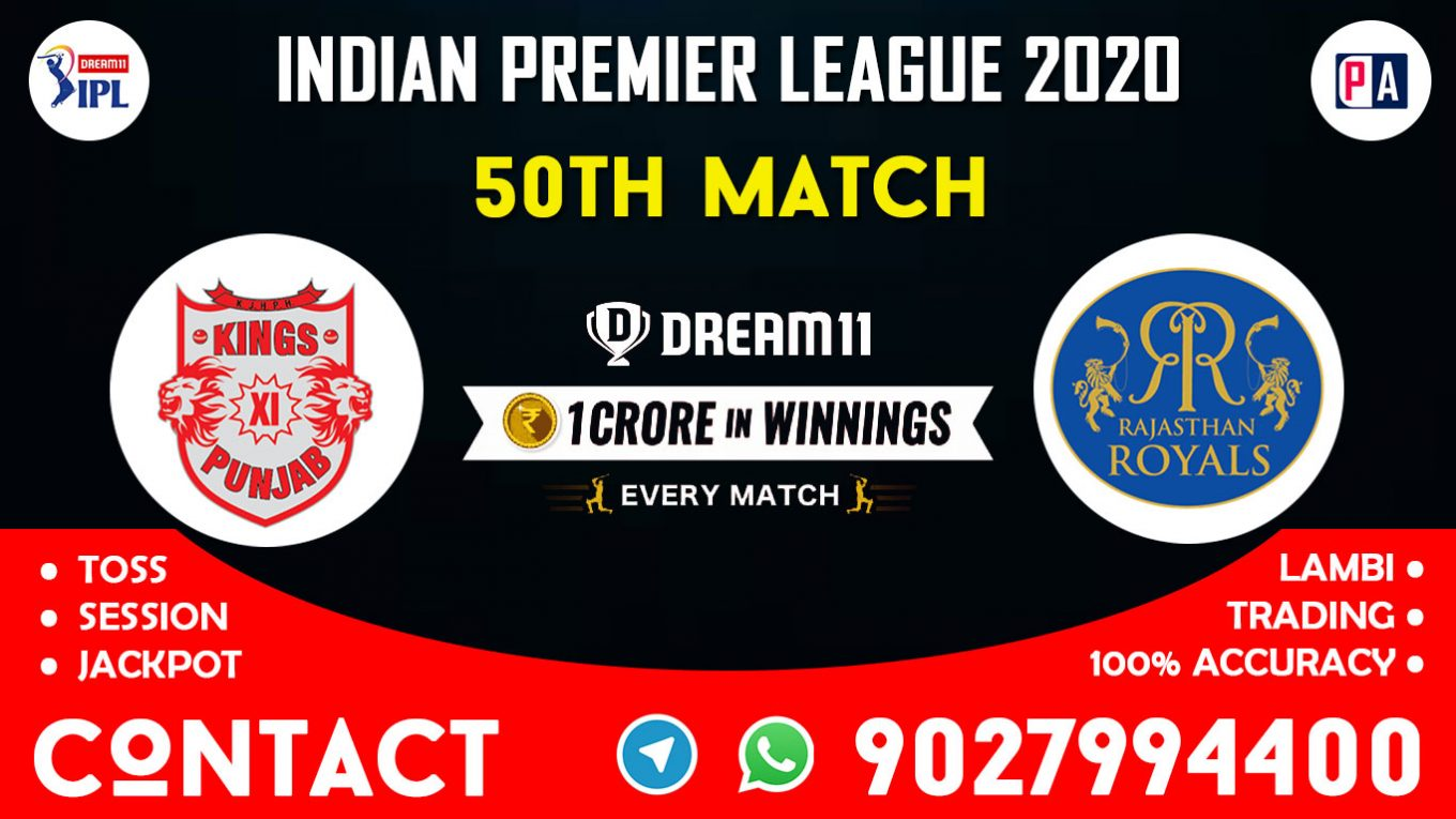 50th Match KXIP vs RR Today Dream11 Prediction